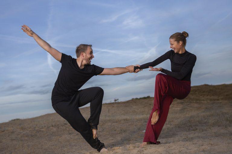 Op locatie foto shoot dansers